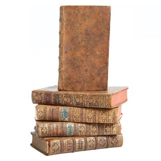 Antiquarian French Leather Books - Set of 5