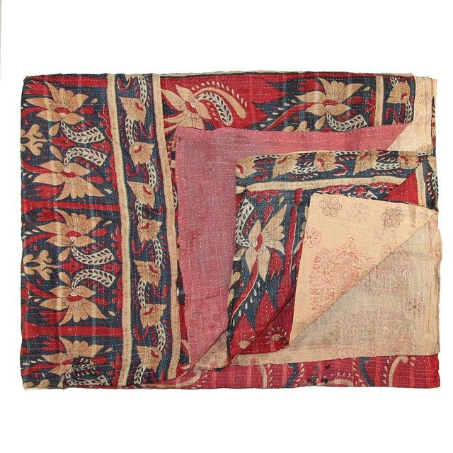 Image of Vintage Turkish Kantha Red & Blue Quilt