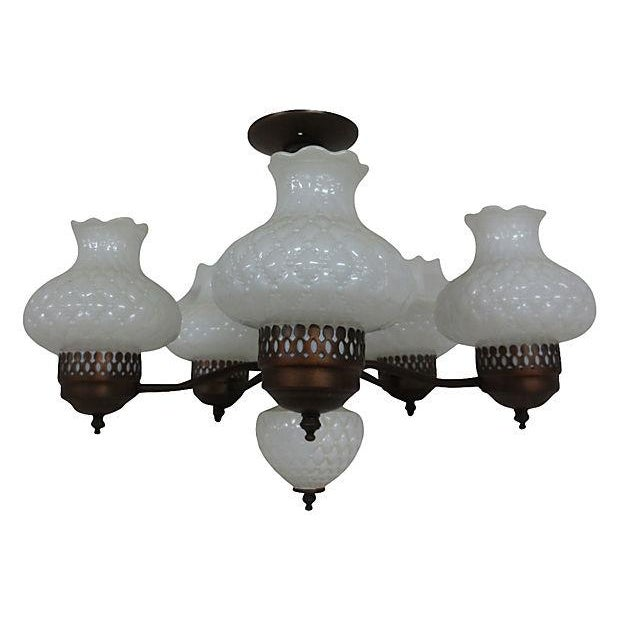 Chandelier With Milk Glass Shades - Image 2 of 4
