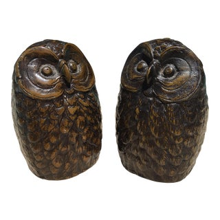 Antique Iron Owl Bookends - A Pair