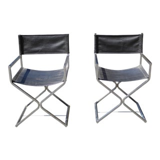 Vintage Contemporary Black Chrome Accent Chairs - A Pair