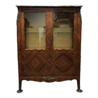 French Provincial Louis XV Inlaid Walnut Bronze Ormolu Vitrine Curio Cabinet with Marble Top