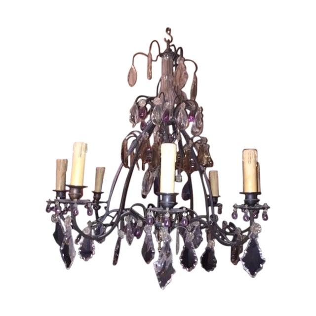 Vintage 8-Light Crystal Chandelier - Image 1 of 3