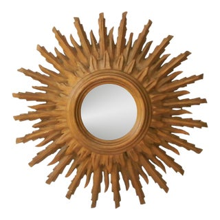 French Sunburst Double Layered Gilded Mirror, Circa 1950