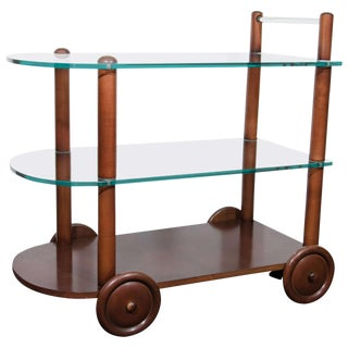 ART DECO GILBERT ROHDE BAR CART ALL ORIGINAL GLASS AND WOOD