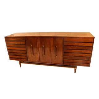 Mid-Century American of Martinsville Louvered Walnut Credenza