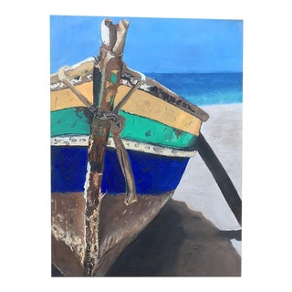 Beached Boat on Canvas Oil Painting
