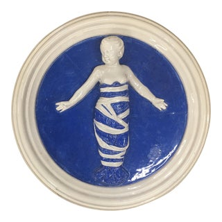 Della Robbia Style Infant Blue and White Wall Plaque