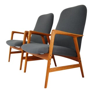 Alf Svensson for Dux Mid-Century Modern Oak Lounge Chairs - A Pair