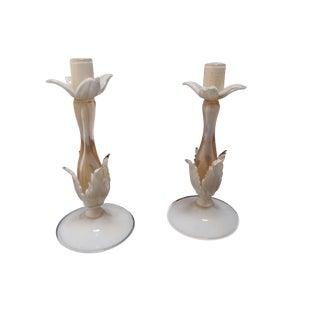Barovier & Toso Murano Glass Candlesticks - A Pair