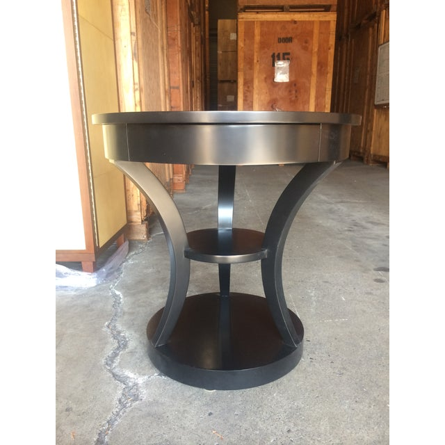 Round Black Lacquered Side Table - Image 3 of 6