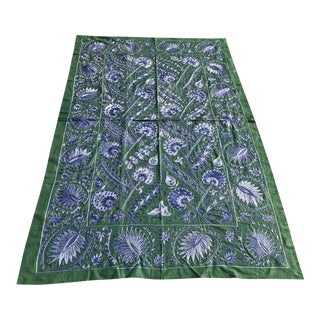 "Suzani Green and Blue Needlework Crochet Fabric Bedspread - 6'9"" x 4'4"""