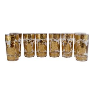 Gold Florentine Fruit Hi Ball Glasses - Set of 8