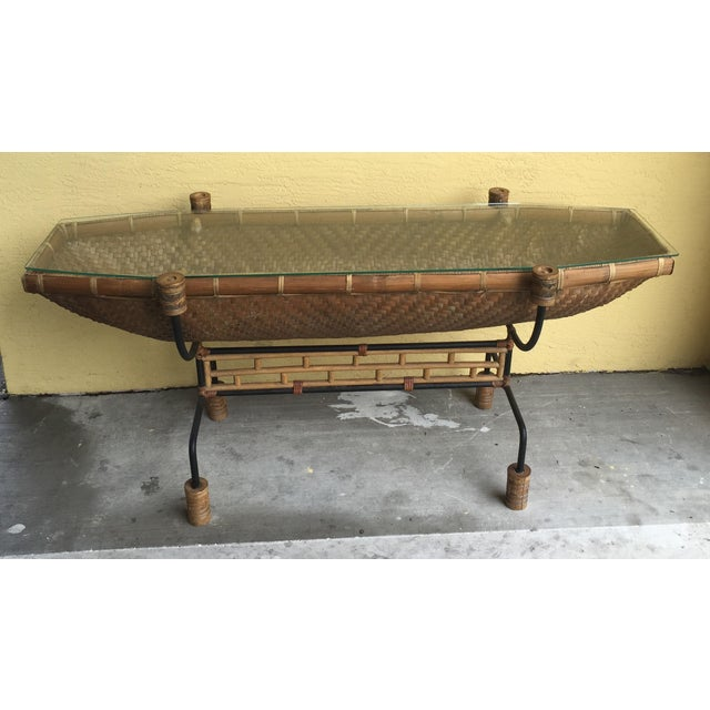 Image of Vintage Pacific Style Rattan Console