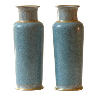 Royal Copenhagen Crackle Glaze Vases - A Pair