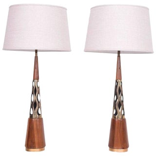 Mid-Century Modern Walnut & Brass Table Lamps