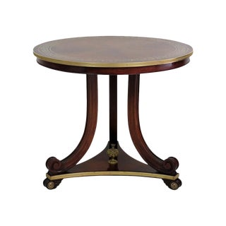 Baltic/Regency Style Inlaid Brass Mahogany Center Table
