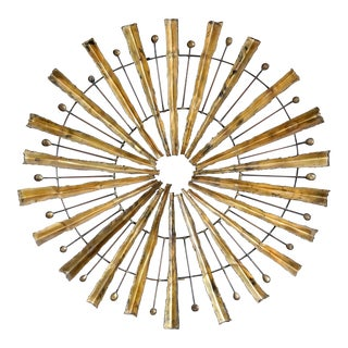 Curtis Jere Style Brutalist Sunburst Wall Sculpture in Patinated Brass