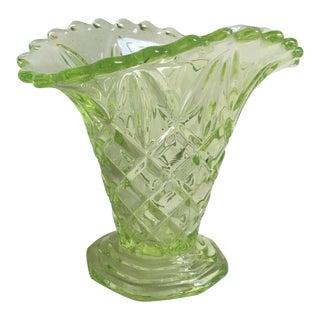 "Sowerby 1930s Art Deco Uranium Vaseline Glass ""Manchester Basket"" Vase"