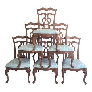 French Country Pine Dining Chairs, Set of 6