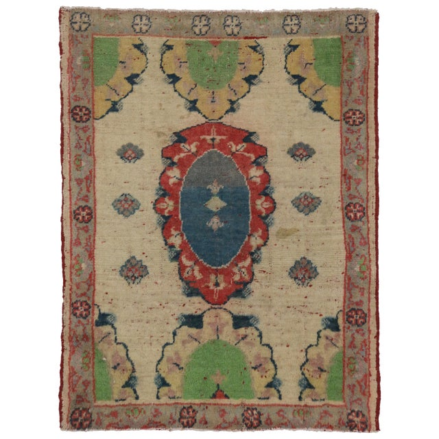 Vintage Yastik Turkish Rug with Modern Style, 2'4 x 3' - Image 1 of 4