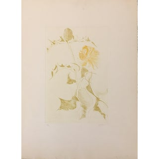 """Thistle and Yellow Flower"" Etching by Leonard Baskin"