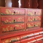 Image of Baker Red Chinoiserie Desk