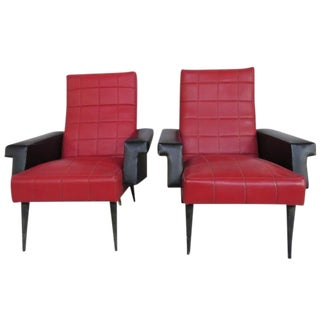 Vintage Faux Red Leather Chairs - A Pair