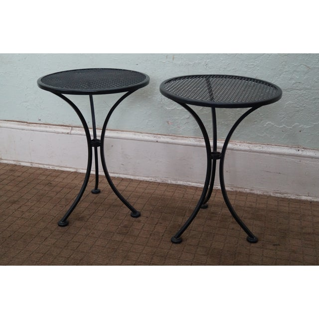 Round Metal Patio Side Tables - A Pair - Image 2 of 10