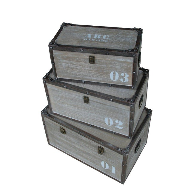 Antique Numbered Wooden Storage Crates - Set of 3 - Image 1 of 3