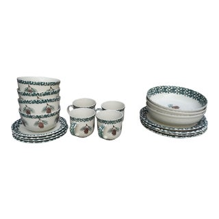 Tieneshan Folkcraft Pine Cone Design Dinnerware - Set of 19