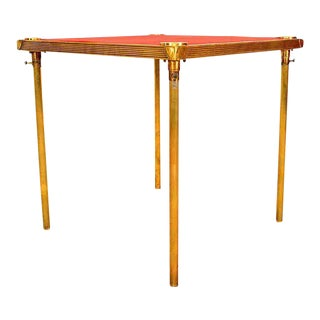 Art Deco French Brass Game Table with Red Cloth