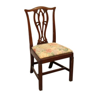 Ornate Floral Upholstered Wooden Seat Chair