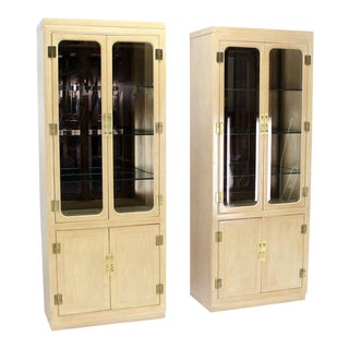 Pair of Mid-Century Modern Tall Display Cabinets for John Stuart