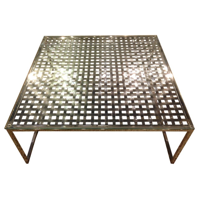 Modern Stainless Steel Lattice Top Coffee Table - Image 1 of 5