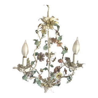 Vintage Tole Pastel Floral 3 Light Chandelier