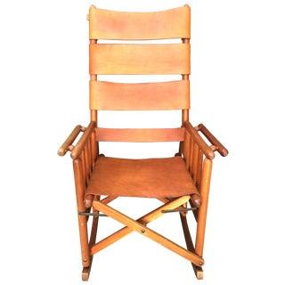 Mid Century Teak & Leather Folding Rocking Chair