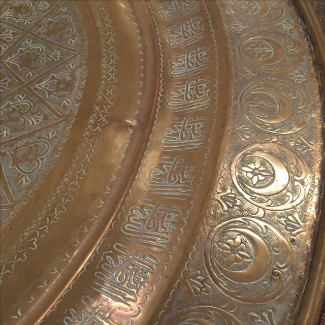 Moroccan Brass Tea Table - Image 4 of 6