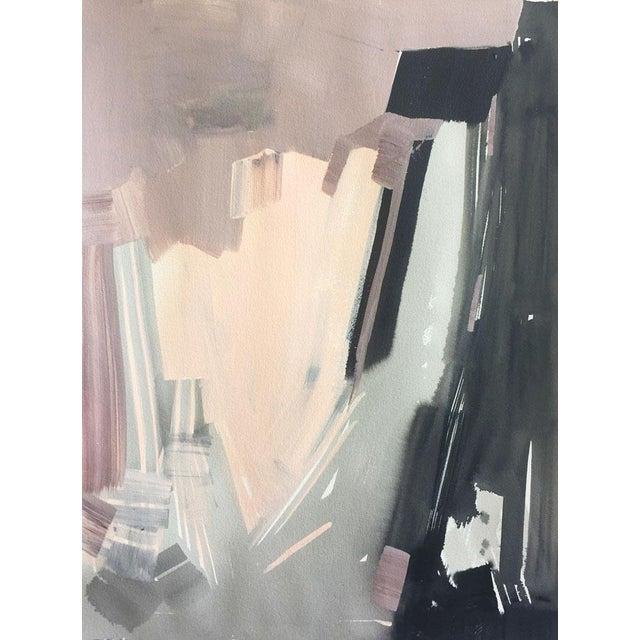 Modern Blush & Black Acrylic Painting - Image 1 of 2