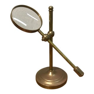Vintage Brass Magnifying Glass on Stand