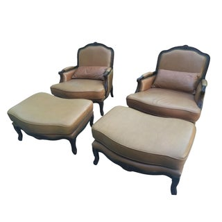 Leather Chairs & Ottomans - A Pair