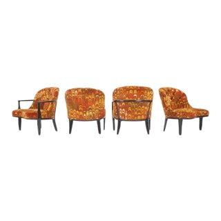 Four Janus Chairs Edward Wormley for Dunbar. Original Jack Lenor Larsen Fabric
