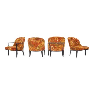 Four Janus Chairs Edward Wormley for Dunbar. Original Jack Lenor Larsen Fabric