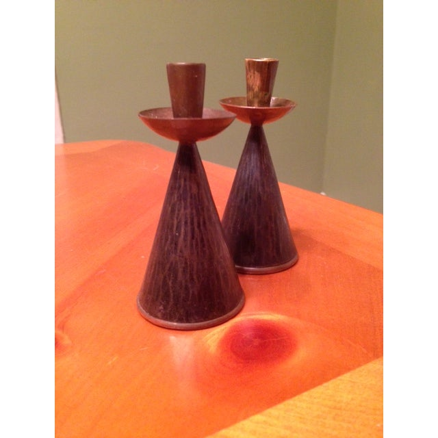 Image of Hand-Hammered Coppered Candlesticks - Pair