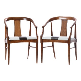 Vintage Mid-Century Wood Curved Back Chairs - A Pair