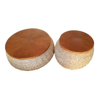 Round Wicker Coffee & End Table - Pair
