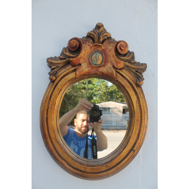 Antique Hand Carved Solid Wood Wall Mirror - Image 2 of 8