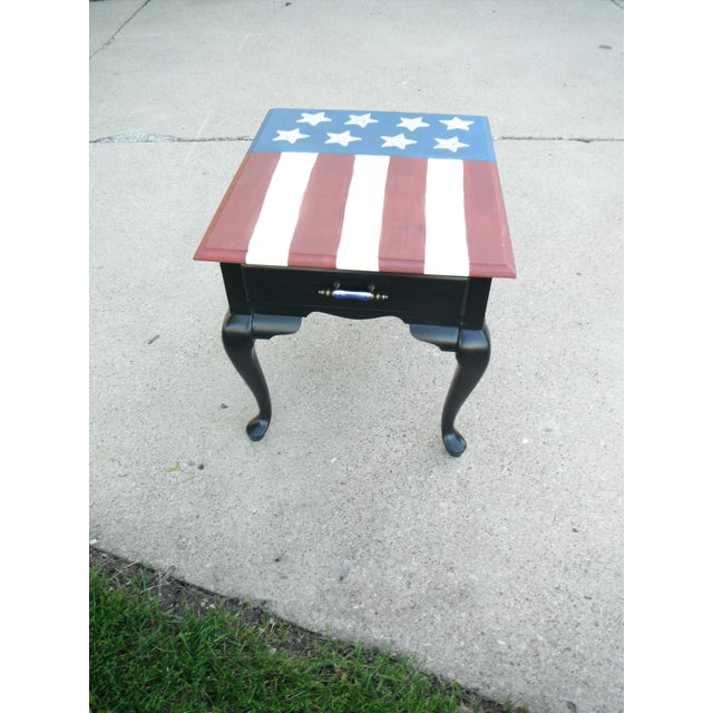 Distressed American Flag Coffee Table: Hand Painted American Flag Side Table