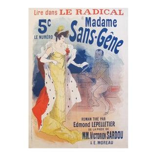 1894 Original French Belle Epoque Poster, Madame Sans Gene by Jules Cheret