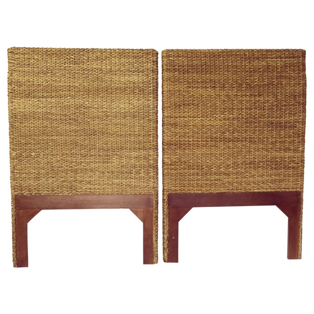 Woven Rattan and Teak Headboards - Pair - Image 1 of 9